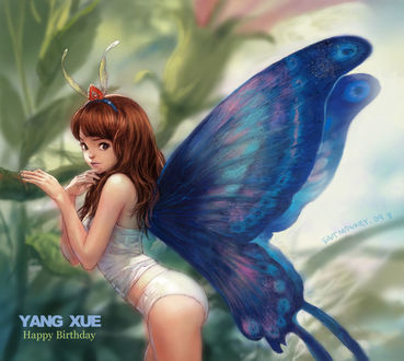 Фото Рыжеволосая девушка-бабочка (Yang Xue Happy Birthday / Янг Сюэ С Днем Рождения), by EastMonkey
