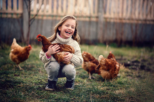 Фото Улыбающаяся девочка с курицей на руках. Фотограф Ludmila Moyskaya