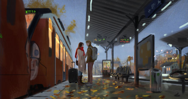 Фото Парень с девушкой стоят у поезда на вокзале, by algenpfleger