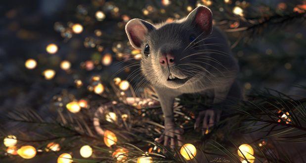Фото Крыса на веточке ели обвитой гирляндой, by Aluta Roma