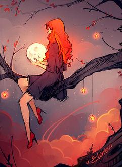 Фото Девушка с луной сидит на ветке дерева, by Elentori