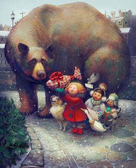 Фото Дети дарят удивленному медведю подарок, by Christopher Cyr
