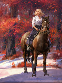 Фото Девушка на лошади в осенне-зимнюю пору, by Leonardo Borazio