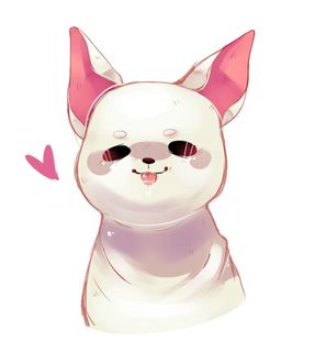 Фото Белый щеночек, рядом розовое сердечко, by PiNKi3XPiE