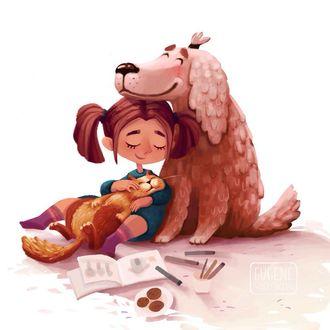 Фото Девочка с кошкой сидит рядом с собакой, иллюстратор Евгения Смоленцева
