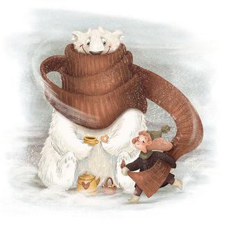 Фото Девочка закутала белого медведя, который держит чашку в лапе, шарфом, by Grishanova Ira