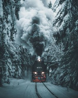 Фото Паровоз проезжает зимний лес, by marcelsiebert