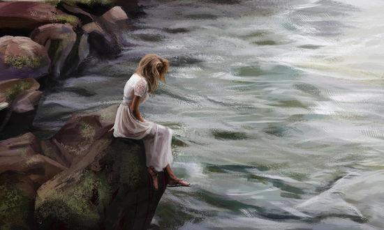 Фото Девушка в белом платье сидит у моря, by Aliena85