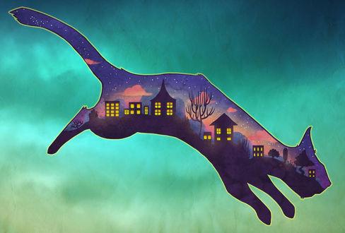 Фото Кошка с ночным городом на теле, by jiobutler
