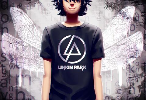Фото Плачущий парень в черной футболке с музыкальным знаком группы (Linkin Park / Линкин Парк), с крыльями стрекозы, by Elsiikun