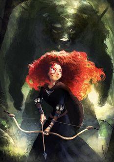 Фото Главная героиня полнометражного анимационного компьютерного фильма 2012 года студий Disney / Pixar, «Храбрая сердцем Мерида и медведь, стоящий за ней, by lehuss