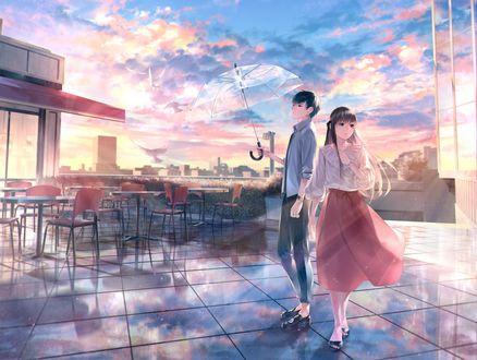 Фото Девушка и парень с зонтиком стоят рядом, by _sousou_