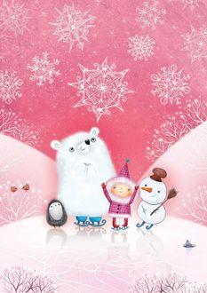 Фото Белый мишка, девочка, ежик и снеговик стоят рядом, иллюстратор Marija Smirnovaite