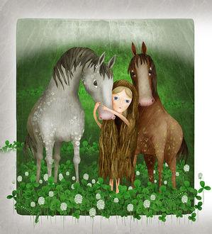 Фото Девочка обнимает лошадь за мордочку, by Marija Smirnovaite