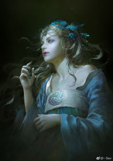 Фото Девушка с желтыми глазами, с голубым украшением на голове и в голубом платье, by jingyu shen