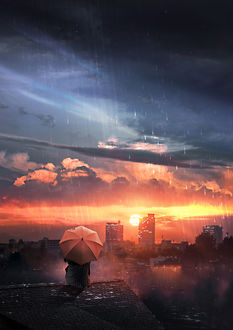 Фото Девушка с зонтом сидит на крыше под дождем на фоне заката солнца, by t1na
