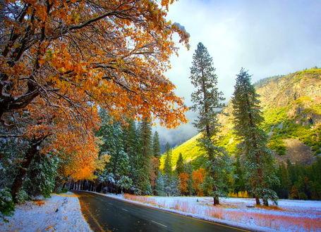 Фото Осенне-зимний пейзаж, горы, лес, легкий снежок и дорога