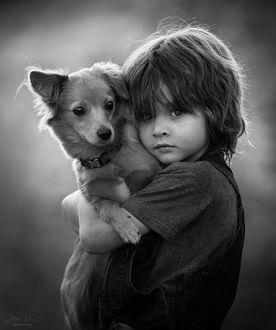 Фото Мальчик со своей собачкой, by Jessica Drossin