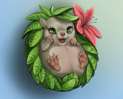 Фото Ежик с цветком и листьями вместо иголок, by little-owlette