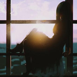 Фото Девушка сидит на перекладине окна, by ArtPunksy