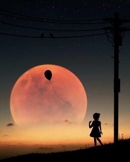 Фото Силуэт девочки смотрит на воздушный шар на фоне луны, by Abdullah Evindar