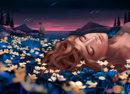 Фото Девушка лежит в цветах и поодаль стоит парень, by Jyundee