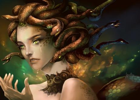 Фото Девушка со змеями на голове, by Jyundee