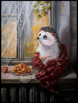 Еж с чашкой и печеньем в лапках сидит на подоконнике окна, иллюстратор Ирина Глущенко