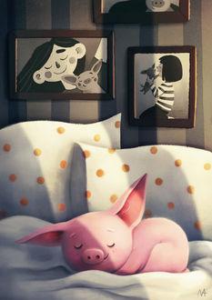 Фото Свинка спит на постели, by Markovkina