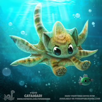 Фото Кот-осьминог гонится за рыбкой (Catamari), by Cryptid-Creations