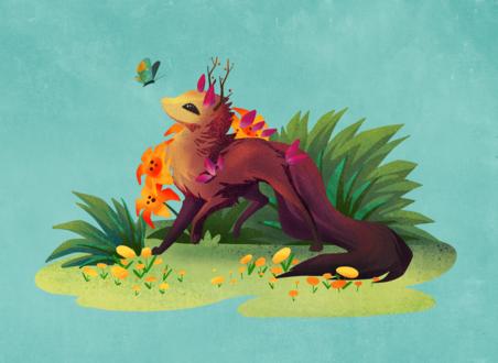 Фото Фантастическое животное с длинным хвостом и и рожками смотрит на бабочку, by fiachmara