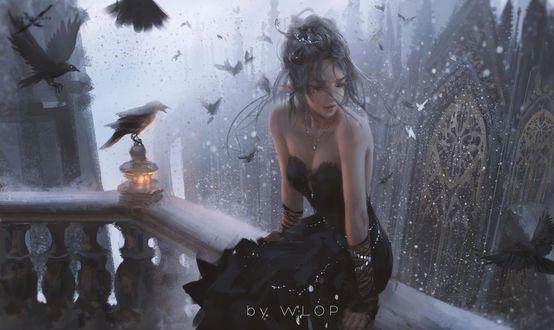 Фото Девушка-эльфийка сидит на ограждении балкона и вокруг летают вороны, by WLOP