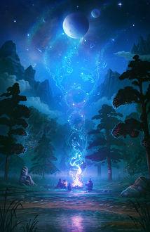 Фото Люди ночью в лесу сидят вокруг магического костра, art by Alyn Spiller