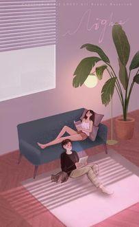 Фото Парень сидит на полу рядом с кошкой у дивана, на котором лежит девушка с книгой, by lost7