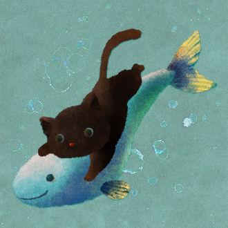 Черный котенок плавает под водой на рыбке, by nao