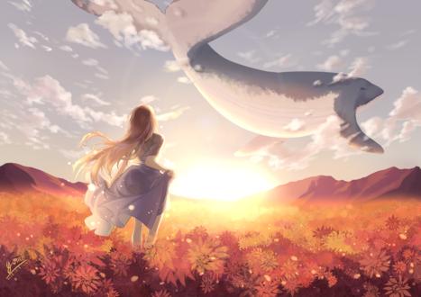 Фото Девушка стоит на фоне яркого солнца и кита, парящего в небе