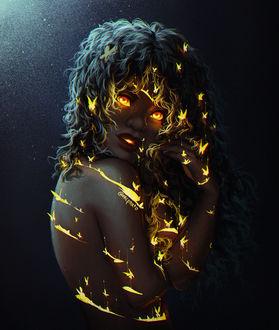 Фото Девушка с золотыми бабочками на ней, by mcptato