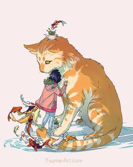 Фото Девочка стоит рядом с большой кошкой и вокруг плавают рыбки кои, by YuumeiArt