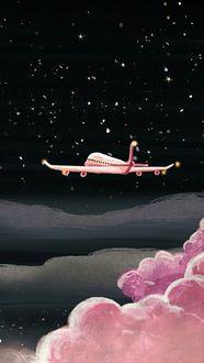 Фото Самолет в небе с розовым облаком