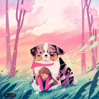 Фото Девочка со своей собакой сидят в траве, by ellievsbear