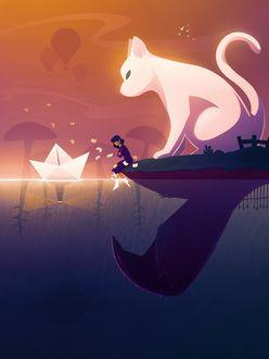 Фото Девушка с большой кошкой запускают бумажный кораблик на воду, art by Taraneh Karimi