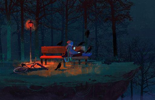 Фото Девушка, оставит велосипед лежать под фонарем, уселась с телефоном в руках на лавочке в компании ворон, art by Taraneh Karimi