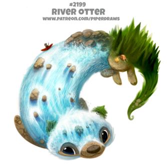 Фото Выдра с телом из воды, в которой плывет лодка с медведем (River Otter), by Cryptid-Creations