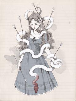 Фото Девушка в платье, обвитая утыканной стрелами белой змеей, со стрелой в руке, art by Loputyn