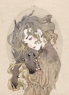 Фото Девушка с волком, art by Loputyn