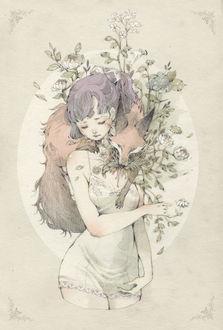 Фото Девушка в неглиже, с лисой на плече, из которого растут цветы, art by Loputyn