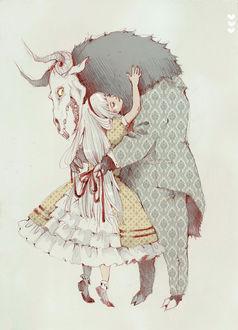 Фото Белокурая девочка обнимает монстра с копытами и черепом козла, art by Loputyn