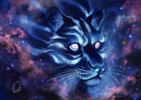 Фото Леопард на фоне космоса, by ShadeofShinon