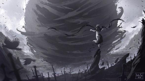 Фото Девушка-лисица вызывает смерч, стоя на поле битвы среди мечей, by Kate-FoX
