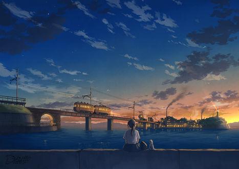 Фото Девушка и кошка смотрят на поезд на мосту